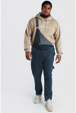 Dark wash Big And Tall Slim Denim Overalls