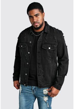 Washed black Big & Tall - Jeansjacka med slitna detaljer
