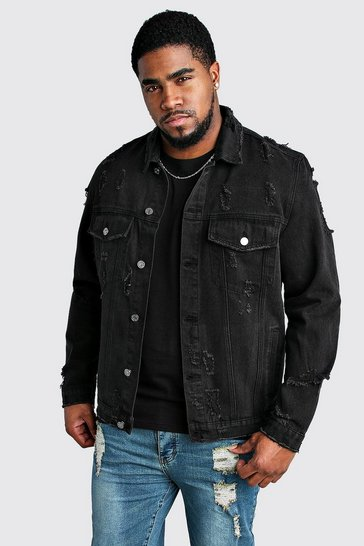 Washed black Big And Tall Distressed Denim Jacket