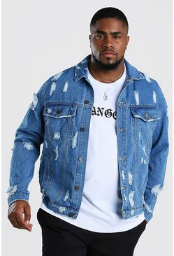 Big & Tall Jeansjacke in Destroyed-Optik, Mittelblau