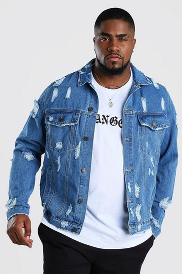 Mid blue Big And Tall Distressed Denim Jacket