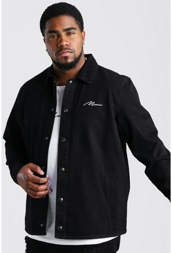 Black Big And Tall MAN Script Denim Overshirt