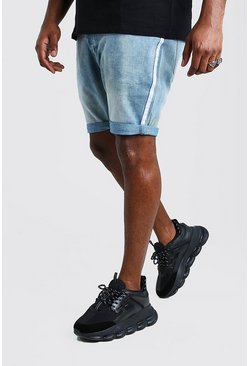 Pale blue Big And Tall Skinny Denim Short With Side Tape