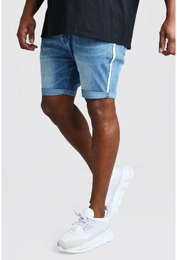 Mid blue Big And Tall Skinny Denim Short With Side Tape