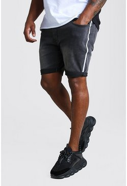 Charcoal Big And Tall Skinny Denim Short With Side Tape