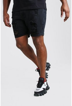 Washed black Big And Tall Slim Distressed Denim Short
