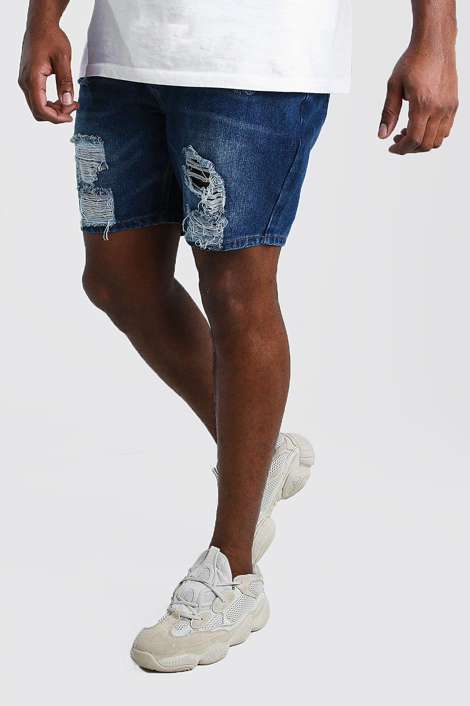 mens plus size slim distressed jean short - blue