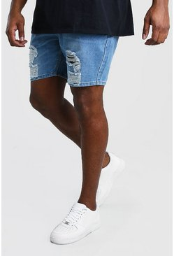 Mid blue Big And Tall Slim Distressed Denim Short