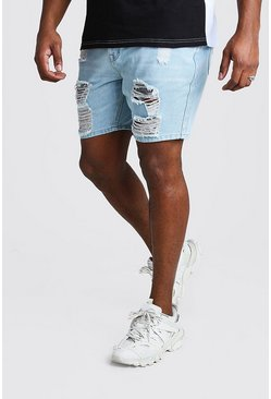 Shorts denim desgastados slim Big And Tall, Azul claro