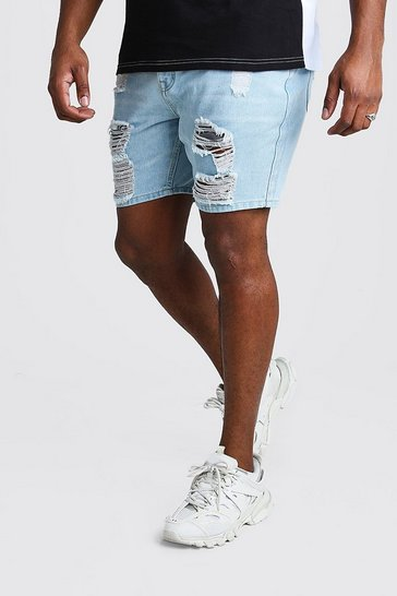 Light blue Big And Tall Slim Distressed Denim Short
