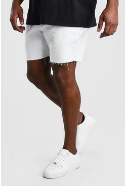 White Big And Tall Slim Denim Short With Belt