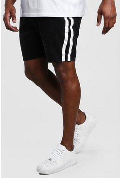 Washed black Big And Tall Slim Denim Short With Stripe