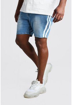 Shorts denim slim con raya Big And Tall, Lavado claro