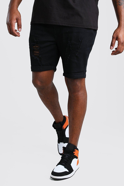 mens plus size skinny distressed jean short - black