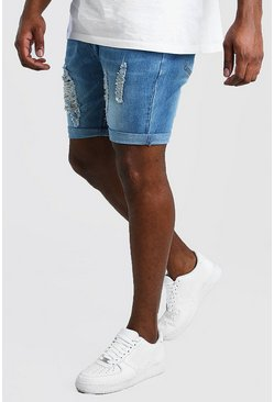 Shorts denim desgastados skinny Big And Tall, Azul medio