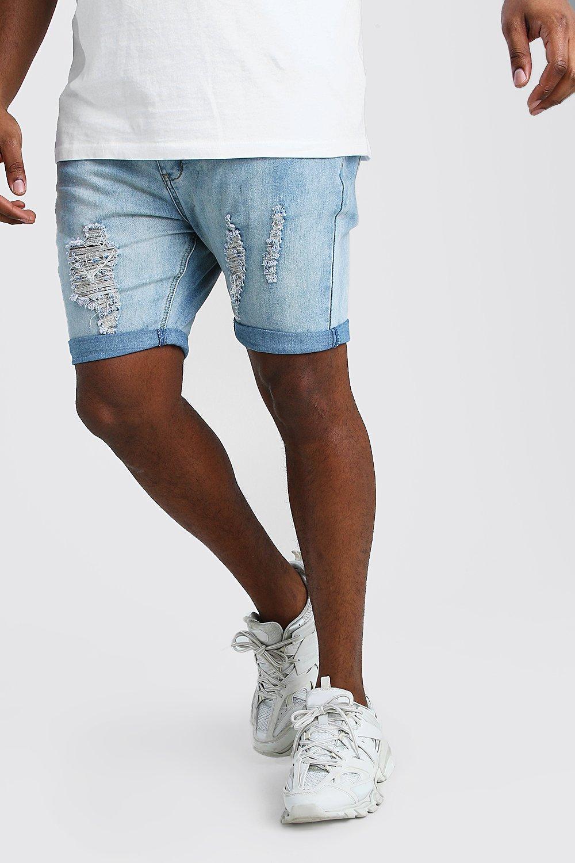 mens plus size skinny distressed jean short - grey