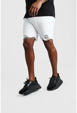 White Big And Tall Slim Raw Hem Denim Short