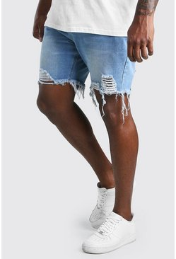 Vintage wash Big And Tall Slim Raw Hem Denim Short
