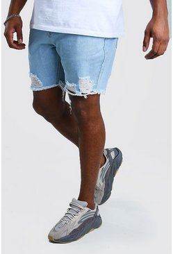 Big And Tall - Short en denim coupe slim à ourlet brut, Bleu clair