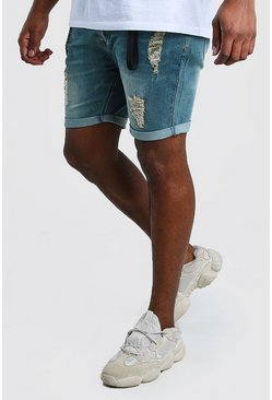 Mid blue Big And Tall Skinny Denim Short With Hardware