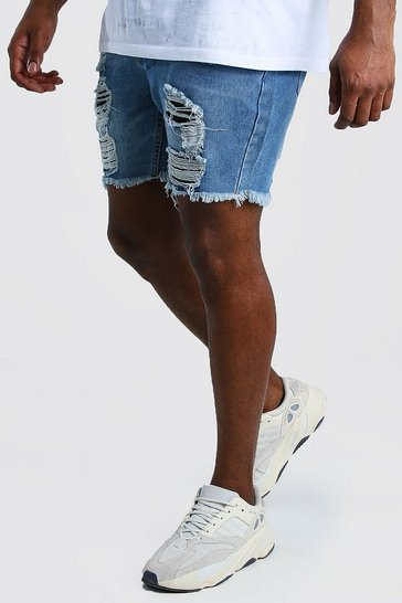 Mid blue Big And Tall Slim Denim Short With Distressing