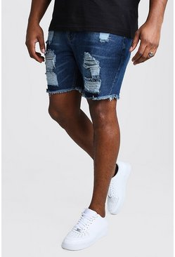 Big And Tall - Short en denim coupe slim aspect vieilli, Bleu foncé
