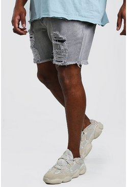 Shorts denim desgastados slim Big And Tall, Gris