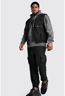Big And Tall - Veste utilitaire en denim, Noir délavé