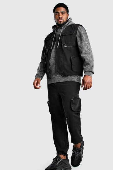 Washed black Big And Tall Denim Utility Vest
