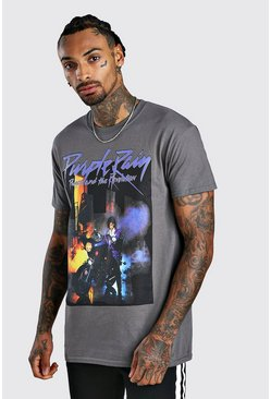 "Grey ""Purple Rain"" T-shirt med Prince-motiv"