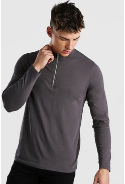 Charcoal Long Sleeve T-Shirt With 1/4 Zip Funnel Neck