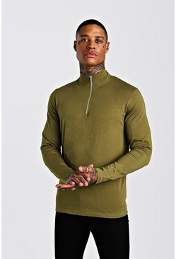 Khaki Long Sleeve T-Shirt With 1/4 Zip Funnel Neck