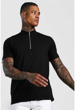 Black 1/4 Zip Neck T-Shirt