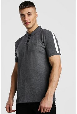 Charcoal MAN Signature Tech Zip Polo With Tape