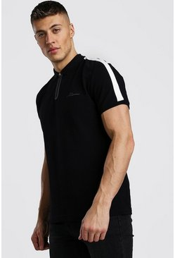 Black MAN Signature Tech Zip Polo With Tape