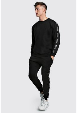 Herr Black Loose Fit Sweater Tracksuit With Original MAN Tape