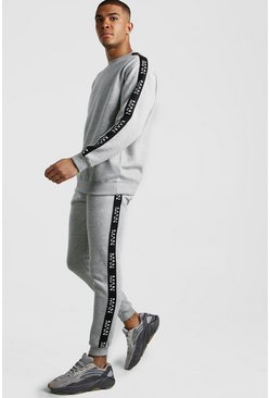 Grey marl Loose Fit Tracksuit With Original MAN Tape