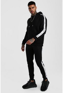 Herr Black Loose Fit Hooded Tracksuit With MAN LTD Tape
