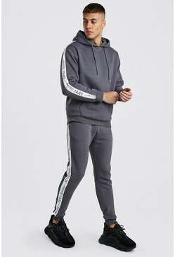 Mens Charcoal Loose Fit Hooded Tracksuit With MAN LTD Tape