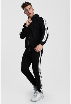 Herr Black Zip Through Hooded Tracksuit With Tape