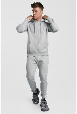 Mens Grey marl Zip Through Hooded Tracksuit With Tape