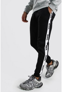 Herr Black Skinny Fit Joggers With MAN Repeat Tape