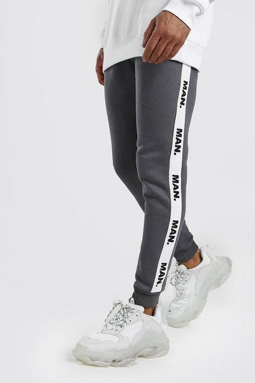 Charcoal Skinny Fit Joggers With MAN Repeat Tape