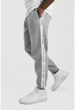 Herr Grey marl Loose Fit Jogger With MAN LTD Tape