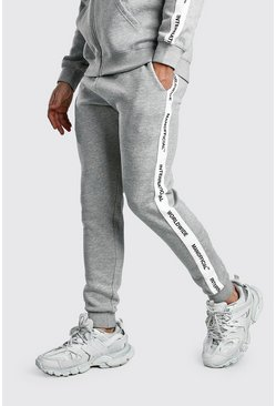 Grey Skinny Fit Jogger With MAN Official Tape