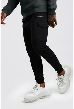 Black MAN Signature Drop Crotch Cargo Joggers