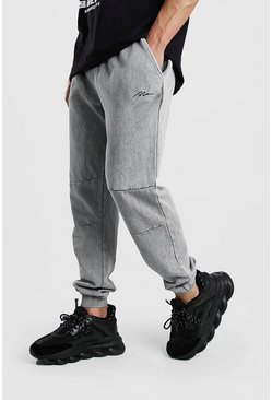 Grey MAN Signature Joggers i regular fit med paneler och tvättad effekt