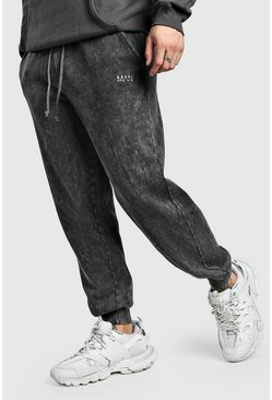 Original MAN Loose Fit Jogginghosen in Acid-Waschung, Anthrazit