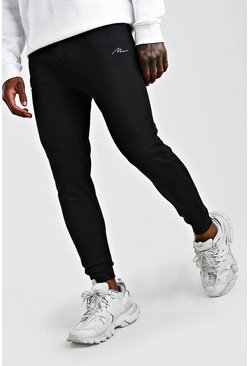 Black MAN Signature Drop Crotch Jogger