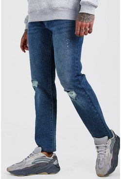 Blue Slim Fit Jeans With Ripped Knees